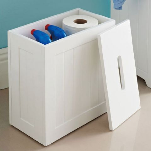 White Wooden Bathroom Toilet Roll & Cleaning Storage Box